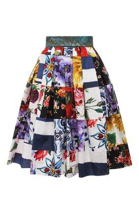 Женская хлопковая юбка DOLCE & GABBANA разноцветного цвета, арт. F4B3WT/GDY03 | Фото 1