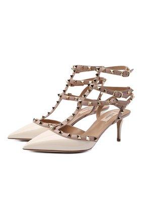 Женские кожаные туфли rockstud VALENTINO кремвого цвета, арт. VW0S0375/VNW | Фото 1