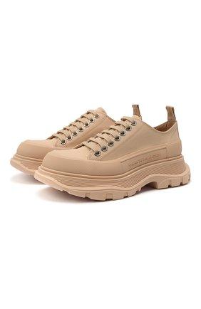 Женские текстильные ботинки tread slick ALEXANDER MCQUEEN бежевого цвета, арт. 611705/W4MV2 | Фото 1 (Материал внутренний: Натуральная кожа; Подошва: Платформа; Материал внешний: Текстиль)