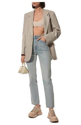 Женские текстильные ботинки tread slick ALEXANDER MCQUEEN бежевого цвета, арт. 611705/W4MV2 | Фото 2 (Материал внутренний: Натуральная кожа; Подошва: Платформа; Материал внешний: Текстиль)