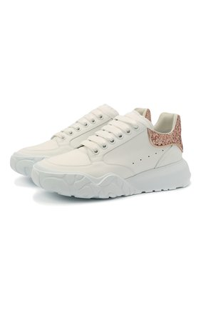 Женские кожаные кроссовки ALEXANDER MCQUEEN белого цвета, арт. 657566/WIA92 | Фото 1 (Материал внешний: Кожа; Подошва: Платформа; Материал внутренний: Натуральная кожа)