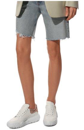Женские кожаные кроссовки ALEXANDER MCQUEEN белого цвета, арт. 657566/WIA92 | Фото 2 (Материал внешний: Кожа; Подошва: Платформа; Материал внутренний: Натуральная кожа)