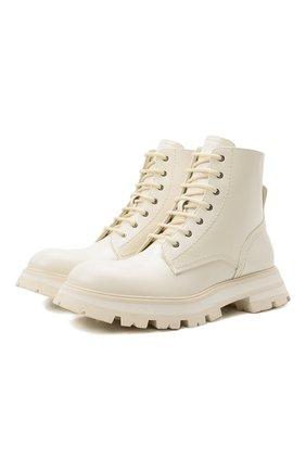 Женские кожаные ботинки ALEXANDER MCQUEEN кремвого цвета, арт. 657569/WHZ80 | Фото 1 (Подошва: Платформа; Материал внутренний: Натуральная кожа; Женское Кросс-КТ: Военные ботинки; Каблук высота: Низкий)