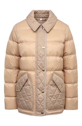 Женская пуховая куртка BURBERRY бежевого цвета, арт. 8039217 | Фото 1