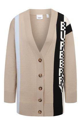 Женский шерстяной кардиган BURBERRY бежевого цвета, арт. 8039184 | Фото 1