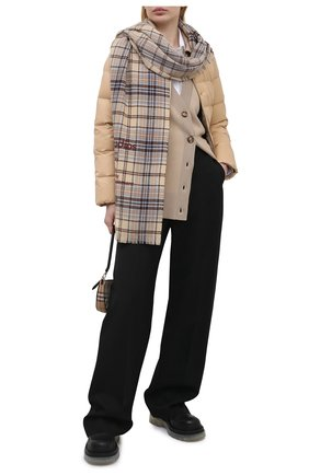 Женский шерстяной кардиган BURBERRY бежевого цвета, арт. 8039184 | Фото 2