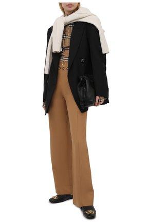 Женские хлопковые брюки BURBERRY бежевого цвета, арт. 8039054 | Фото 2