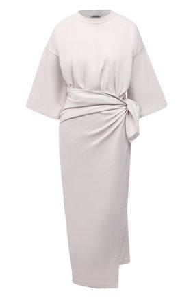 Женское хлопковое платье BALENCIAGA светло-серого цвета, арт. 659078/THV50 | Фото 1