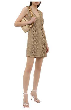 Женское хлопковое платье BOTTEGA VENETA бежевого цвета, арт. 659546/V0RJ0 | Фото 2