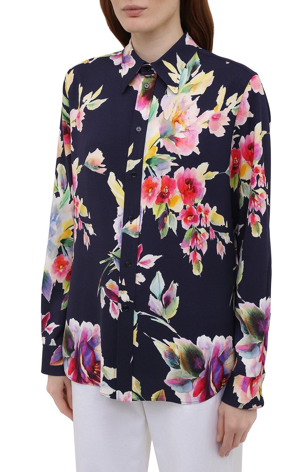 Женская рубашка из вискозы и шелка RALPH LAUREN разноцветного цвета, арт. 290840859 | Фото 3