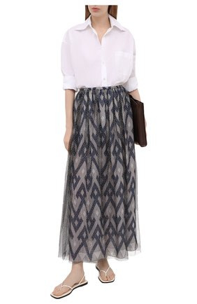 Женская юбка из шелка и вискозы GIORGIO ARMANI темно-синего цвета, арт. 1SHNN04Z/T02Q3 | Фото 2