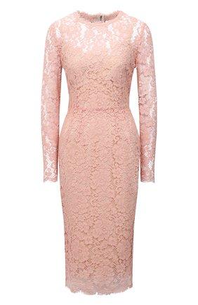 Женское платье из хлопка и вискозы DOLCE & GABBANA светло-розового цвета, арт. F6M0DT/HLM0M | Фото 1