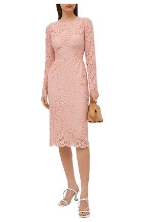 Женское платье из хлопка и вискозы DOLCE & GABBANA светло-розового цвета, арт. F6M0DT/HLM0M | Фото 2