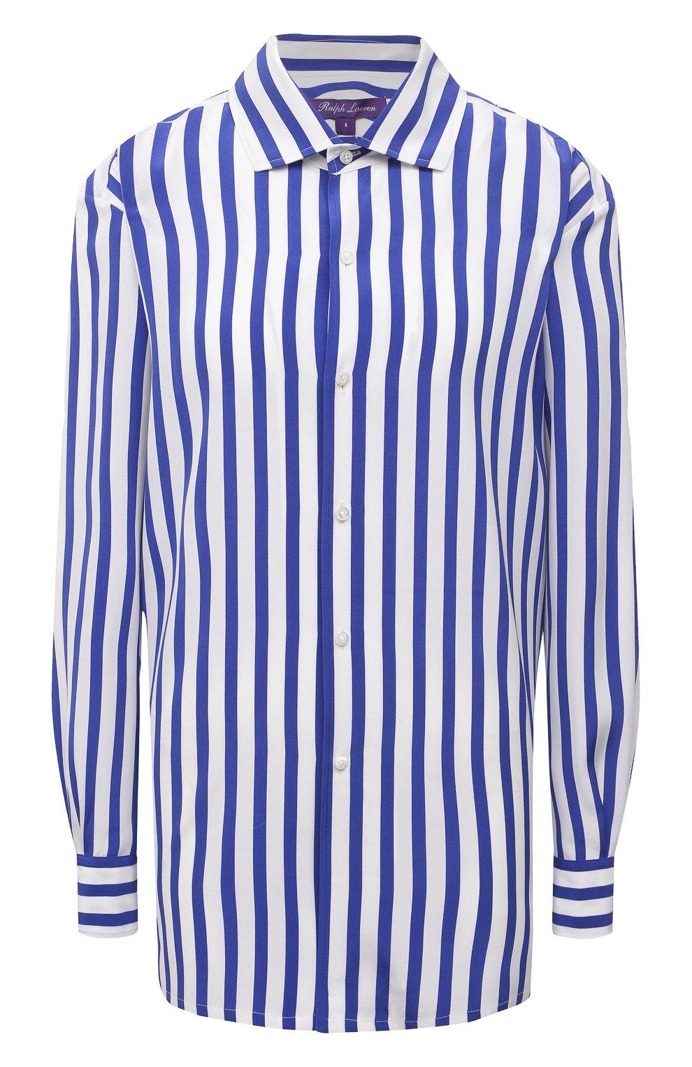 Женская шелковая рубашка RALPH LAUREN синего цвета, арт. 290840856   Фото 1