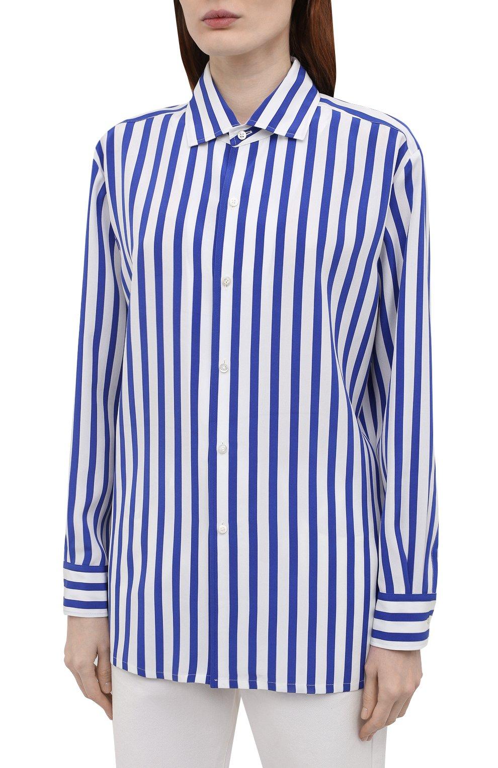 Женская шелковая рубашка RALPH LAUREN синего цвета, арт. 290840856 | Фото 3
