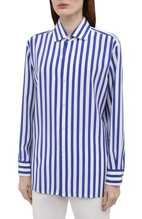 Женская шелковая рубашка RALPH LAUREN синего цвета, арт. 290840856   Фото 3
