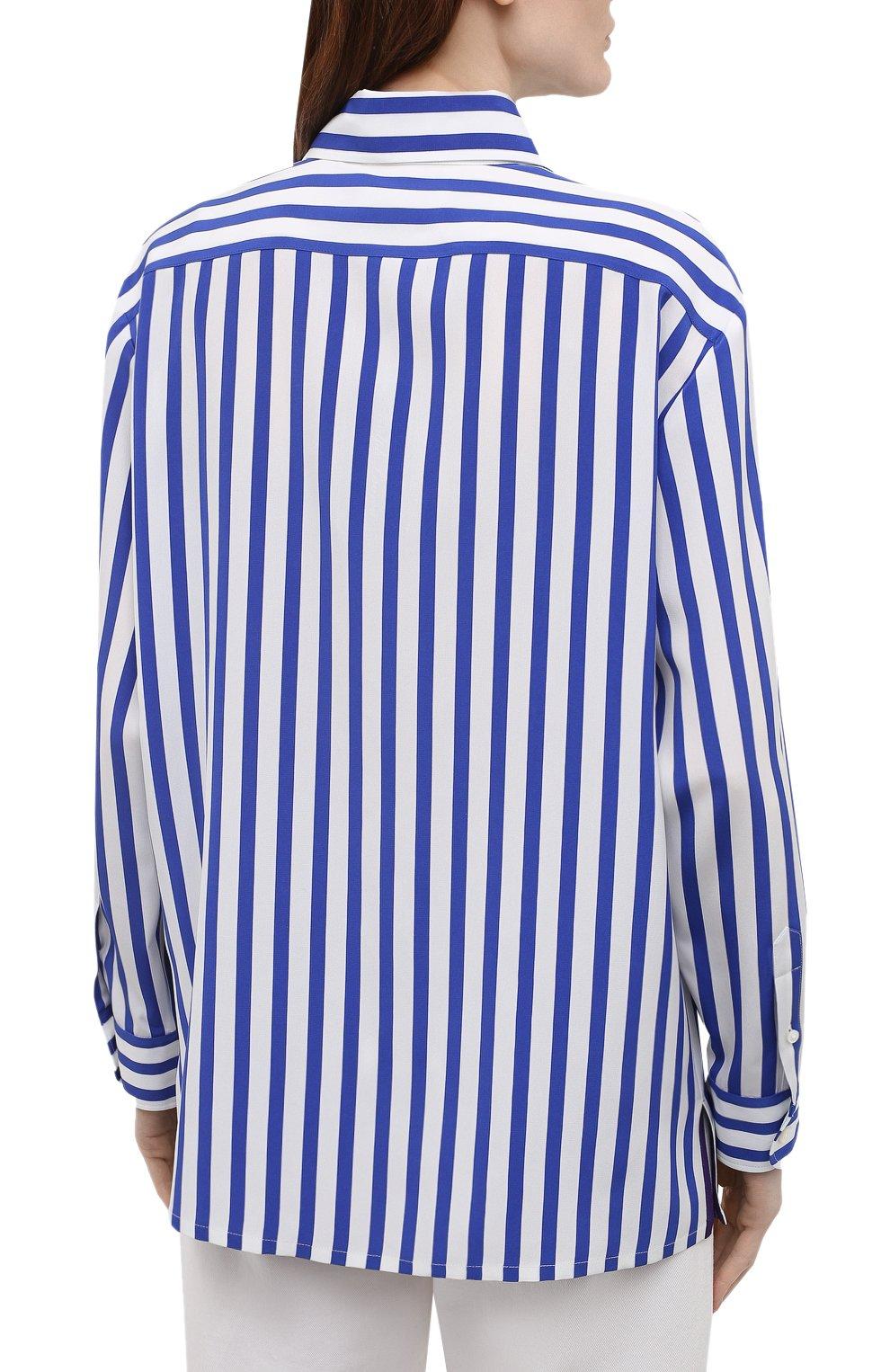 Женская шелковая рубашка RALPH LAUREN синего цвета, арт. 290840856 | Фото 4