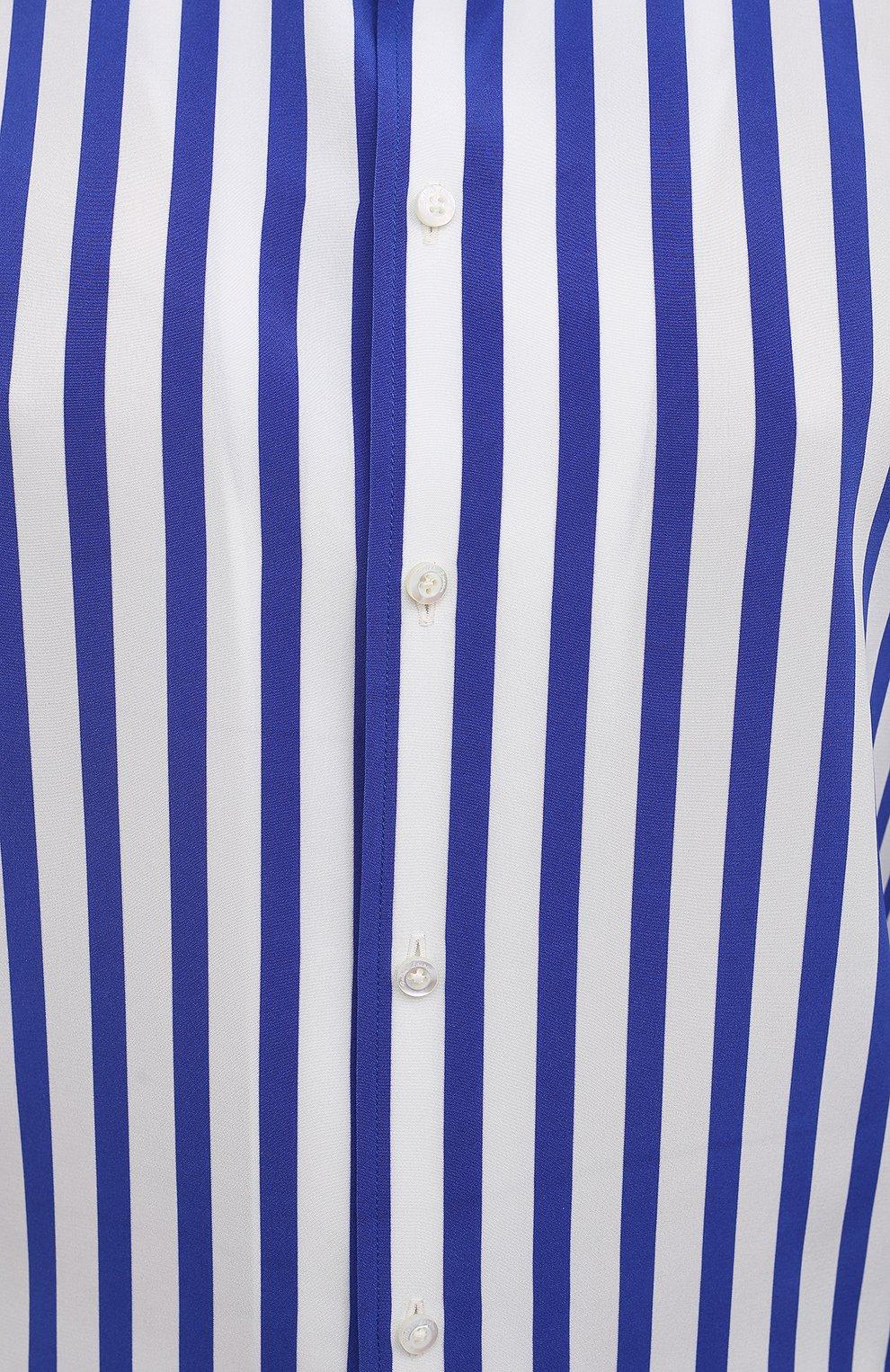 Женская шелковая рубашка RALPH LAUREN синего цвета, арт. 290840856   Фото 5