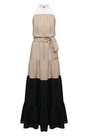 Женское льняное платье KITON бежевого цвета, арт. D51367H06617 | Фото 1