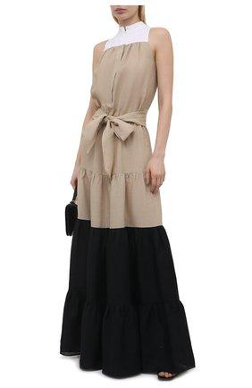 Женское льняное платье KITON бежевого цвета, арт. D51367H06617 | Фото 2