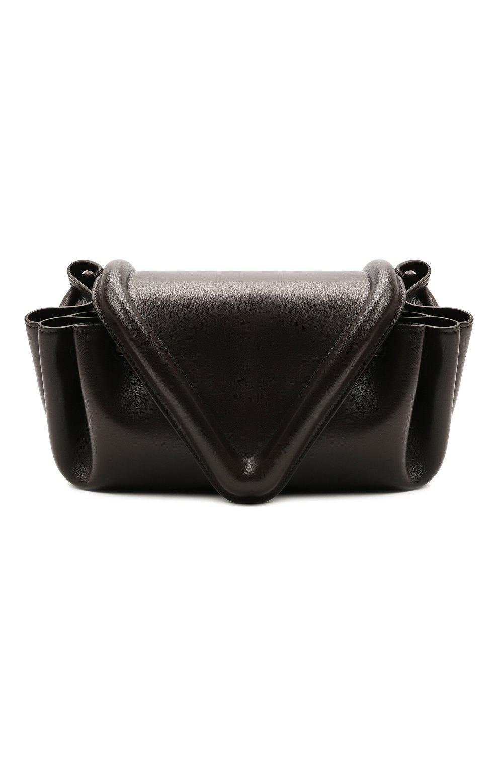 Женская сумка beak medium BOTTEGA VENETA темно-коричневого цвета, арт. 658523/VCP30   Фото 1 (Сумки-технические: Сумки через плечо; Размер: medium; Материал: Натуральная кожа)