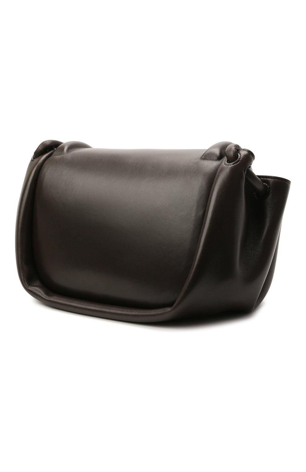 Женская сумка beak medium BOTTEGA VENETA темно-коричневого цвета, арт. 658523/VCP30   Фото 3 (Сумки-технические: Сумки через плечо; Размер: medium; Материал: Натуральная кожа)