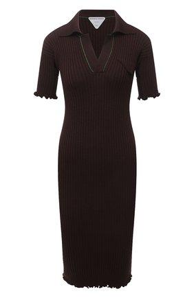 Женское шерстяное платье BOTTEGA VENETA коричневого цвета, арт. 656278/V0QZ0 | Фото 1