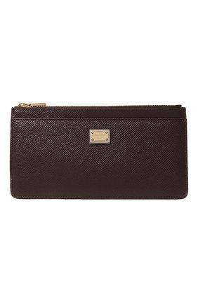 Женский кожаный футляр для кредитных карт DOLCE & GABBANA бордового цвета, арт. BI1265/A1001 | Фото 1 (Материал: Кожа)