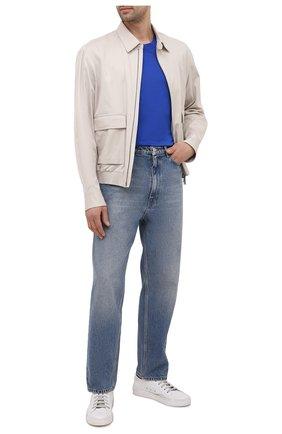 Мужская хлопковая футболка KITON синего цвета, арт. UK1274 | Фото 2