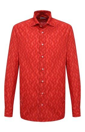 Мужская хлопковая рубашка ZILLI красного цвета, арт. MFV-84002-G11601/ZS12 | Фото 1 (Длина (для топов): Стандартные; Материал внешний: Хлопок; Рукава: Длинные; Случай: Повседневный; Принт: С принтом; Манжеты: На пуговицах; Рубашки М: Regular Fit; Стили: Классический; Воротник: Акула)
