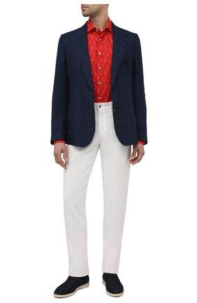 Мужская хлопковая рубашка ZILLI красного цвета, арт. MFV-84002-G11601/ZS12 | Фото 2 (Длина (для топов): Стандартные; Материал внешний: Хлопок; Рукава: Длинные; Случай: Повседневный; Принт: С принтом; Манжеты: На пуговицах; Рубашки М: Regular Fit; Стили: Классический; Воротник: Акула)