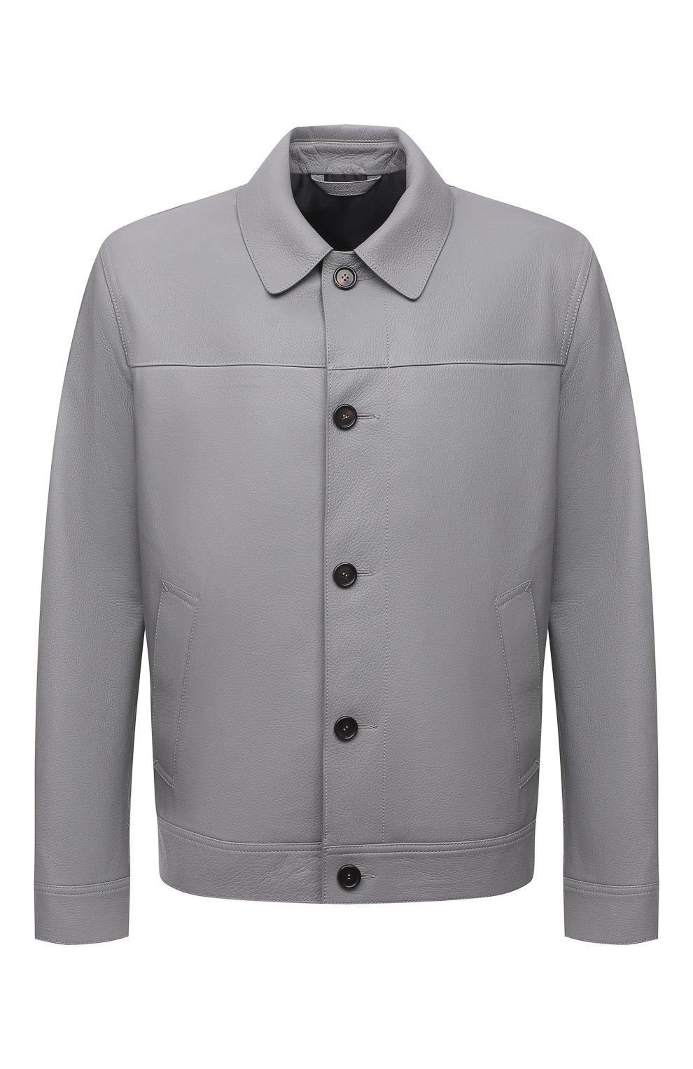 Мужская кожаная куртка BRIONI серого цвета, арт. PLZ90L/P7708 | Фото 1 (Кросс-КТ: Куртка; Рукава: Длинные; Стили: Классический; Мужское Кросс-КТ: Кожа и замша; Длина (верхняя одежда): Короткие; Материал подклада: Купро)