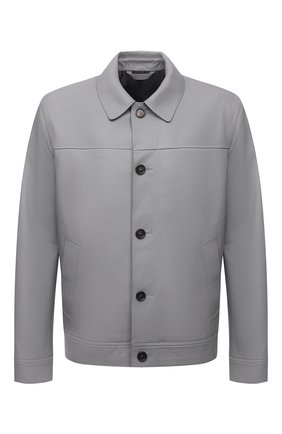 Мужская кожаная куртка BRIONI серого цвета, арт. PLZ90L/P7708 | Фото 1 (Материал подклада: Купро; Длина (верхняя одежда): Короткие; Рукава: Длинные; Кросс-КТ: Куртка; Стили: Классический; Мужское Кросс-КТ: Кожа и замша)