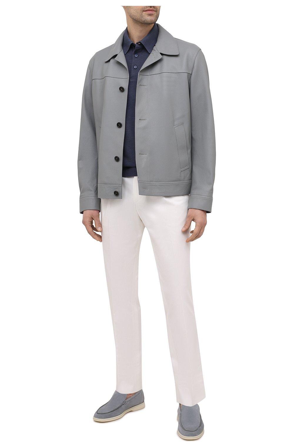 Мужская кожаная куртка BRIONI серого цвета, арт. PLZ90L/P7708 | Фото 2 (Кросс-КТ: Куртка; Рукава: Длинные; Стили: Классический; Мужское Кросс-КТ: Кожа и замша; Длина (верхняя одежда): Короткие; Материал подклада: Купро)