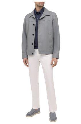 Мужская кожаная куртка BRIONI серого цвета, арт. PLZ90L/P7708 | Фото 2 (Материал подклада: Купро; Длина (верхняя одежда): Короткие; Рукава: Длинные; Кросс-КТ: Куртка; Стили: Классический; Мужское Кросс-КТ: Кожа и замша)