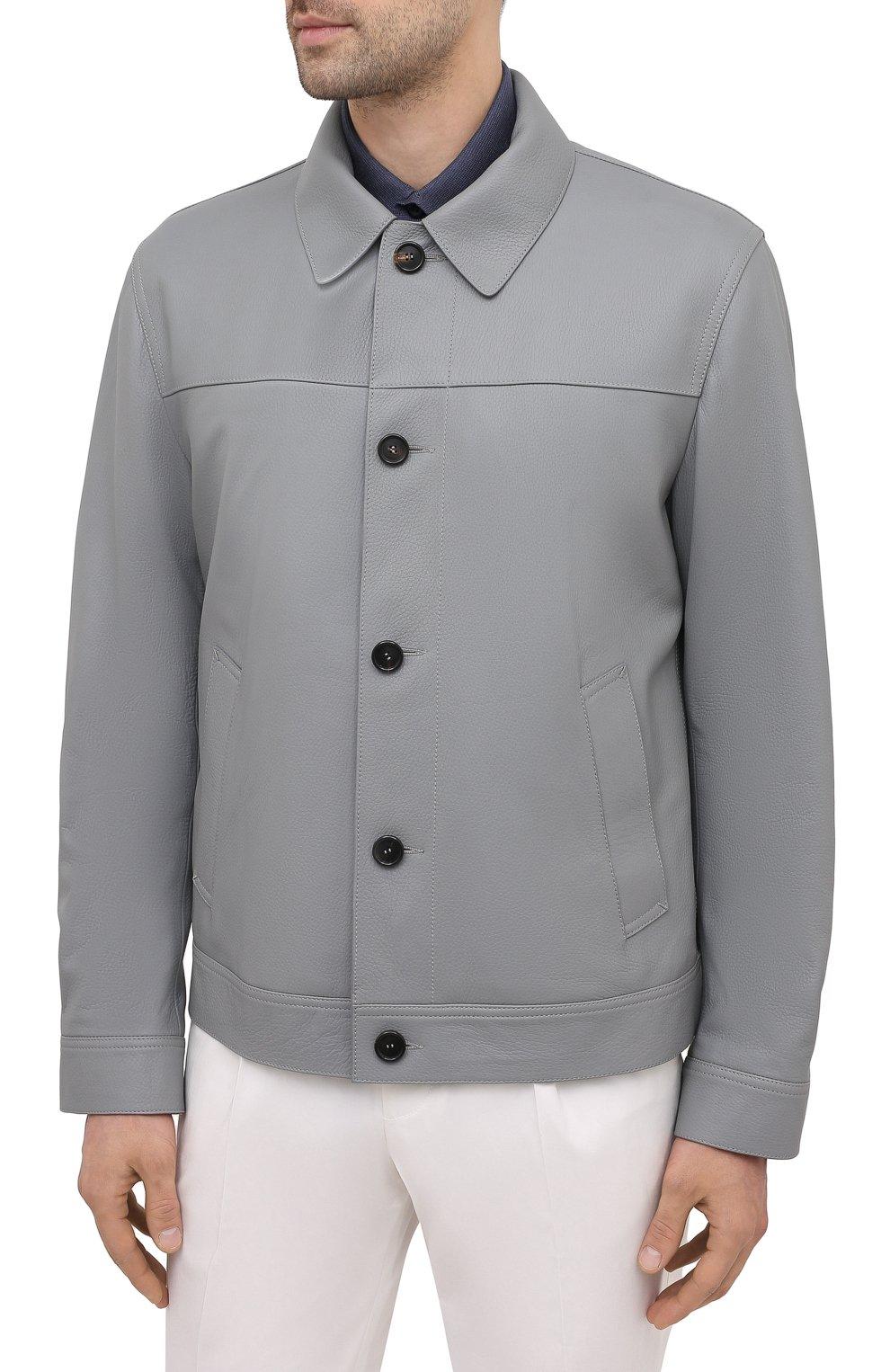 Мужская кожаная куртка BRIONI серого цвета, арт. PLZ90L/P7708 | Фото 3 (Кросс-КТ: Куртка; Рукава: Длинные; Стили: Классический; Мужское Кросс-КТ: Кожа и замша; Длина (верхняя одежда): Короткие; Материал подклада: Купро)