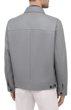 Мужская кожаная куртка BRIONI серого цвета, арт. PLZ90L/P7708 | Фото 4 (Кросс-КТ: Куртка; Рукава: Длинные; Стили: Классический; Мужское Кросс-КТ: Кожа и замша; Длина (верхняя одежда): Короткие; Материал подклада: Купро)