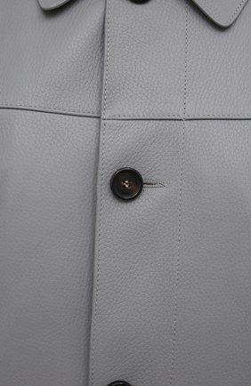 Мужская кожаная куртка BRIONI серого цвета, арт. PLZ90L/P7708 | Фото 5 (Кросс-КТ: Куртка; Рукава: Длинные; Стили: Классический; Мужское Кросс-КТ: Кожа и замша; Длина (верхняя одежда): Короткие; Материал подклада: Купро)