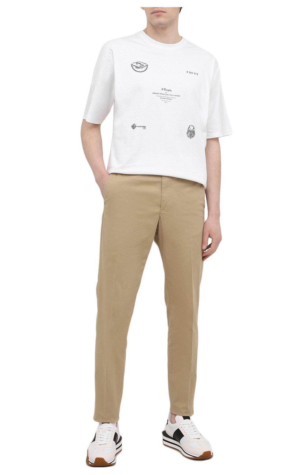 Мужские хлопковые брюки ASPESI бежевого цвета, арт. S1 A CP14 G398   Фото 2 (Силуэт М (брюки): Чиносы; Длина (брюки, джинсы): Стандартные; Случай: Повседневный; Материал внешний: Хлопок; Стили: Минимализм)