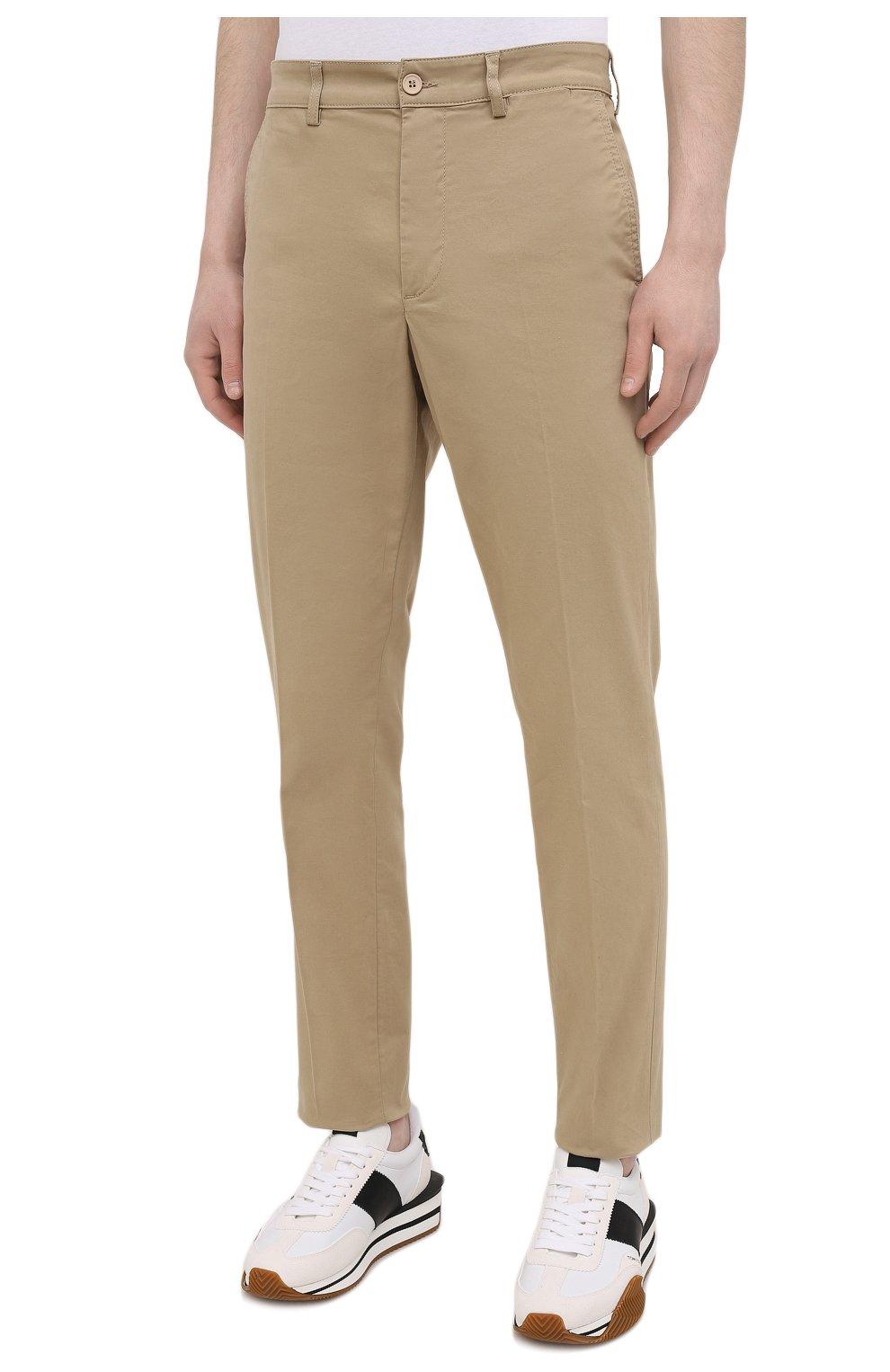 Мужские хлопковые брюки ASPESI бежевого цвета, арт. S1 A CP14 G398   Фото 3 (Силуэт М (брюки): Чиносы; Длина (брюки, джинсы): Стандартные; Случай: Повседневный; Материал внешний: Хлопок; Стили: Минимализм)