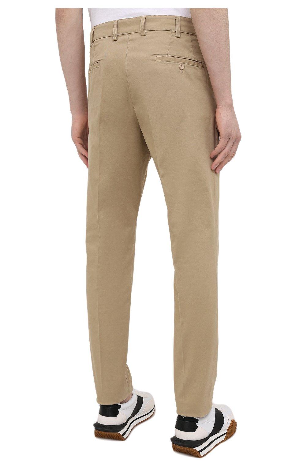 Мужские хлопковые брюки ASPESI бежевого цвета, арт. S1 A CP14 G398   Фото 4 (Силуэт М (брюки): Чиносы; Длина (брюки, джинсы): Стандартные; Случай: Повседневный; Материал внешний: Хлопок; Стили: Минимализм)