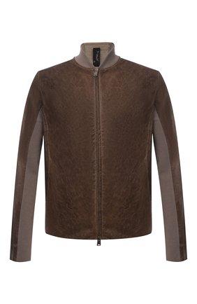 Мужская комбинированная куртка TRANSIT коричневого цвета, арт. CFUTRNS282 | Фото 1