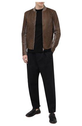 Мужская комбинированная куртка TRANSIT коричневого цвета, арт. CFUTRNS282 | Фото 2