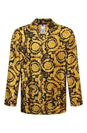 Мужская шелковая сорочка VERSACE желтого цвета, арт. AUU05060/A232999 | Фото 1 (Длина (для топов): Стандартные; Рукава: Длинные; Материал внешний: Шелк; Кросс-КТ: домашняя одежда)