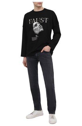 Мужская хлопковый лонгслив TEE LIBRARY черного цвета, арт. TSK-LL-34 | Фото 2 (Длина (для топов): Стандартные; Рукава: Длинные; Материал внешний: Хлопок; Принт: С принтом; Стили: Панк)