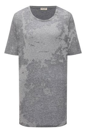 Женская футболка SAINT LAURENT серого цвета, арт. 648056/Y36BE | Фото 1 (Длина (для топов): Стандартные; Материал внешний: Хлопок, Синтетический материал; Девочки Кросс-КТ: футболка-одежда; Стили: Спорт-шик; Рукава: Короткие; Женское Кросс-КТ: Футболка-одежда; Принт: С принтом)