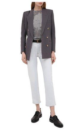 Женская футболка SAINT LAURENT серого цвета, арт. 648056/Y36BE | Фото 2 (Длина (для топов): Стандартные; Материал внешний: Хлопок, Синтетический материал; Девочки Кросс-КТ: футболка-одежда; Стили: Спорт-шик; Рукава: Короткие; Женское Кросс-КТ: Футболка-одежда; Принт: С принтом)