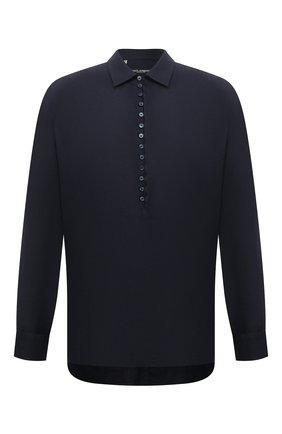 Мужская льняная рубашка DOLCE & GABBANA темно-синего цвета, арт. G5GJ2T/FU4IK | Фото 1 (Длина (для топов): Стандартные; Рукава: Длинные; Материал внешний: Лен; Случай: Повседневный; Принт: Однотонные; Рубашки М: Classic Fit; Стили: Кэжуэл; Воротник: Кент; Манжеты: На пуговицах)
