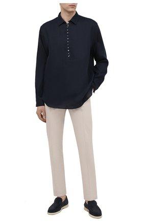 Мужская льняная рубашка DOLCE & GABBANA темно-синего цвета, арт. G5GJ2T/FU4IK | Фото 2 (Длина (для топов): Стандартные; Рукава: Длинные; Материал внешний: Лен; Случай: Повседневный; Принт: Однотонные; Рубашки М: Classic Fit; Стили: Кэжуэл; Воротник: Кент; Манжеты: На пуговицах)