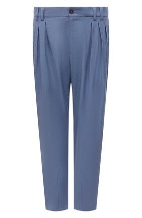 Мужские брюки изо льна и хлопка DOLCE & GABBANA голубого цвета, арт. GWJBHZ/FU4F6 | Фото 1